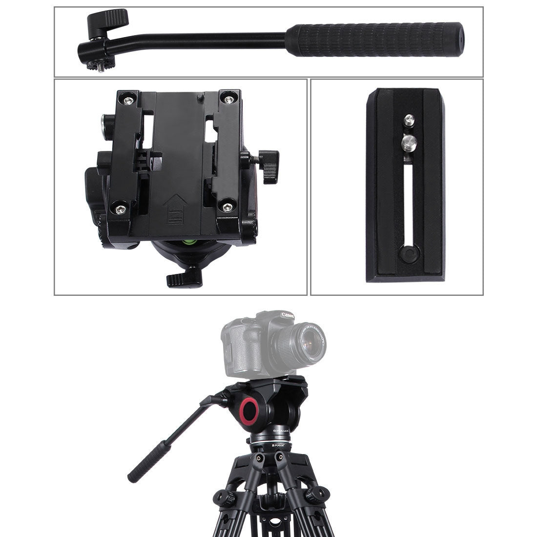 Heavy Duty Video Camera Tripod Action Fluid Drag Head with Sliding Plate for DSLR & SLR Cameras, Large Size(Black)