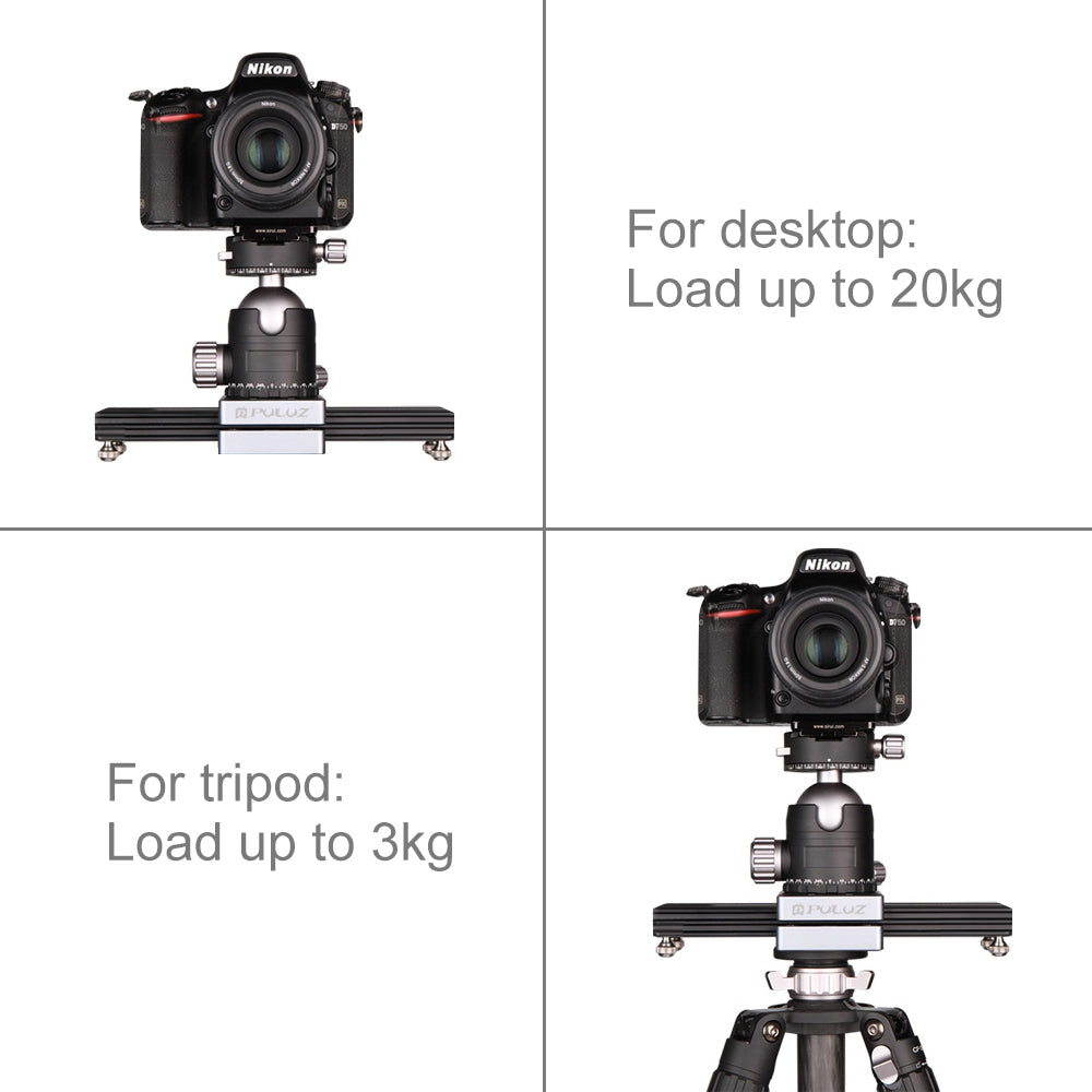 Close-Up Shooting Desktop Fluid Drag Track Slider Aluminum Alloy Camera Video Stabilizer Rail with 1/4 inch Screw
