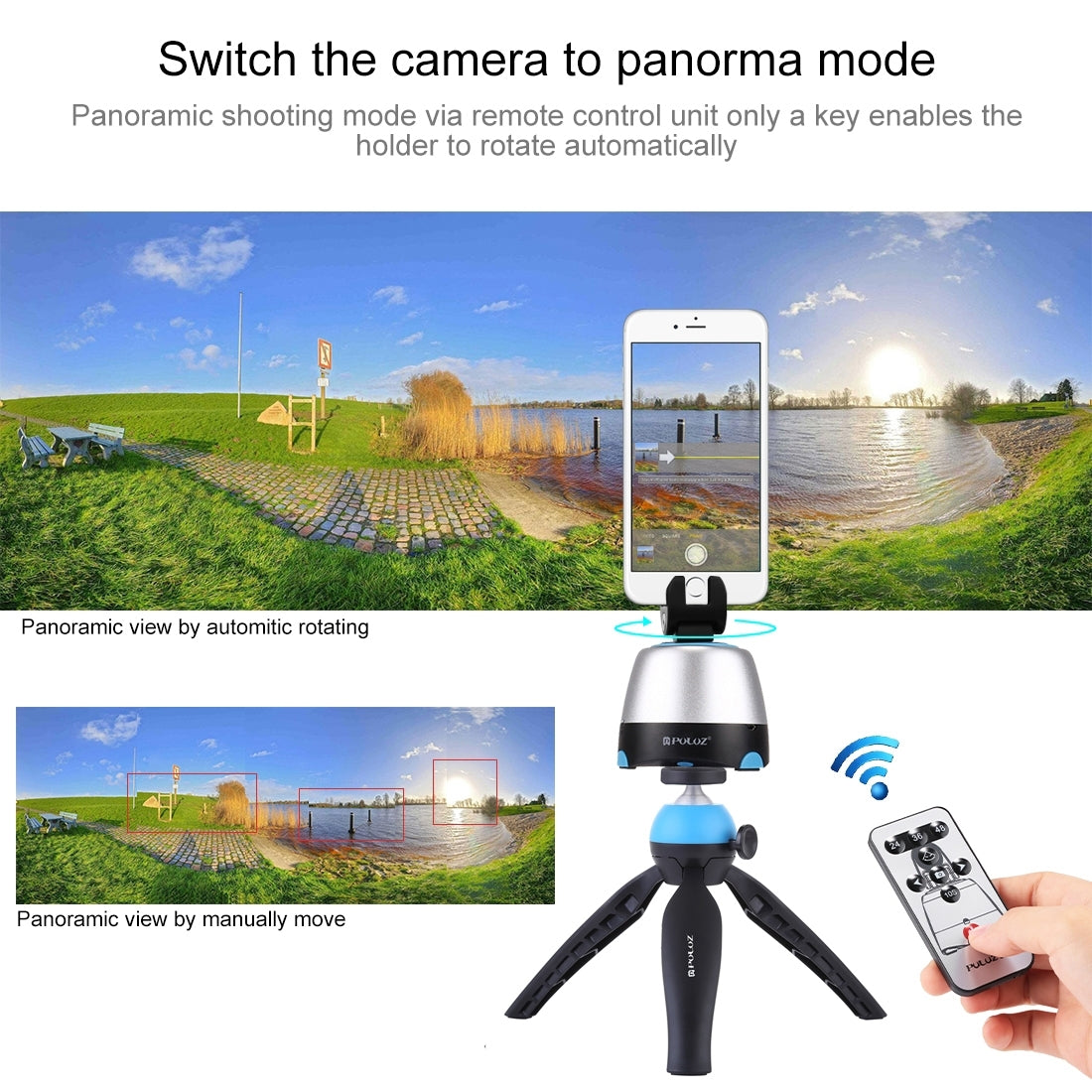 Electronic 360 Degree Rotation Panoramic Head + Tripod Mount + GoPro Clamp + Phone Clamp with Remote Controller for Smartphones,
