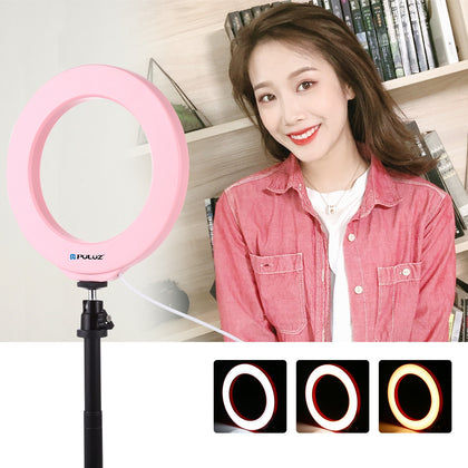 6.2 inch 16cm USB 3 Modes Dimmable LED Ring Vlogging Photography Video Lights  with Cold Shoe Tripod Ball Head(Pink)