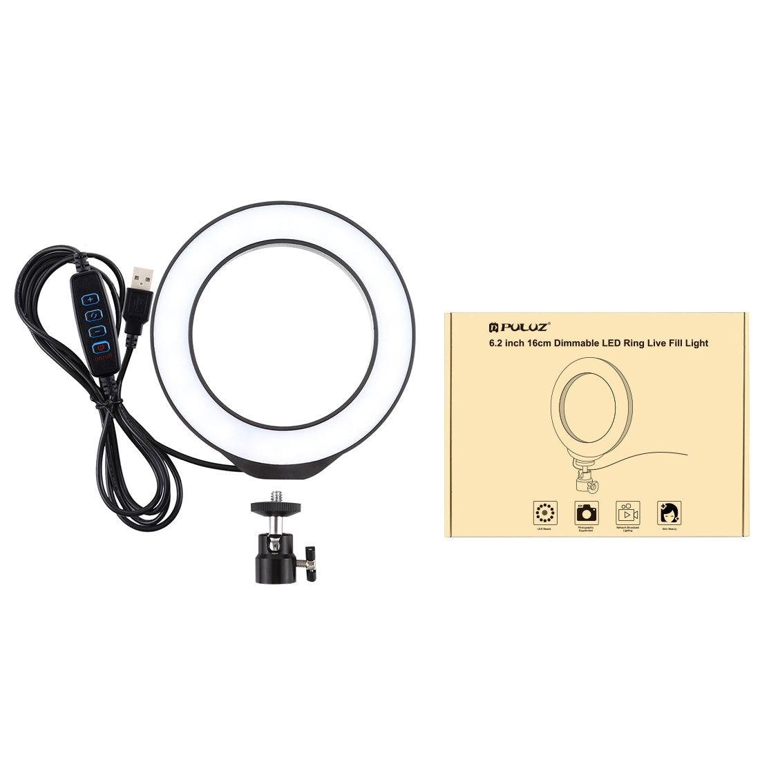 6.2 inch 16cm USB 3 Modes Dimmable LED Ring Vlogging Photography Video Lights  with Cold Shoe Tripod Ball Head(Black)