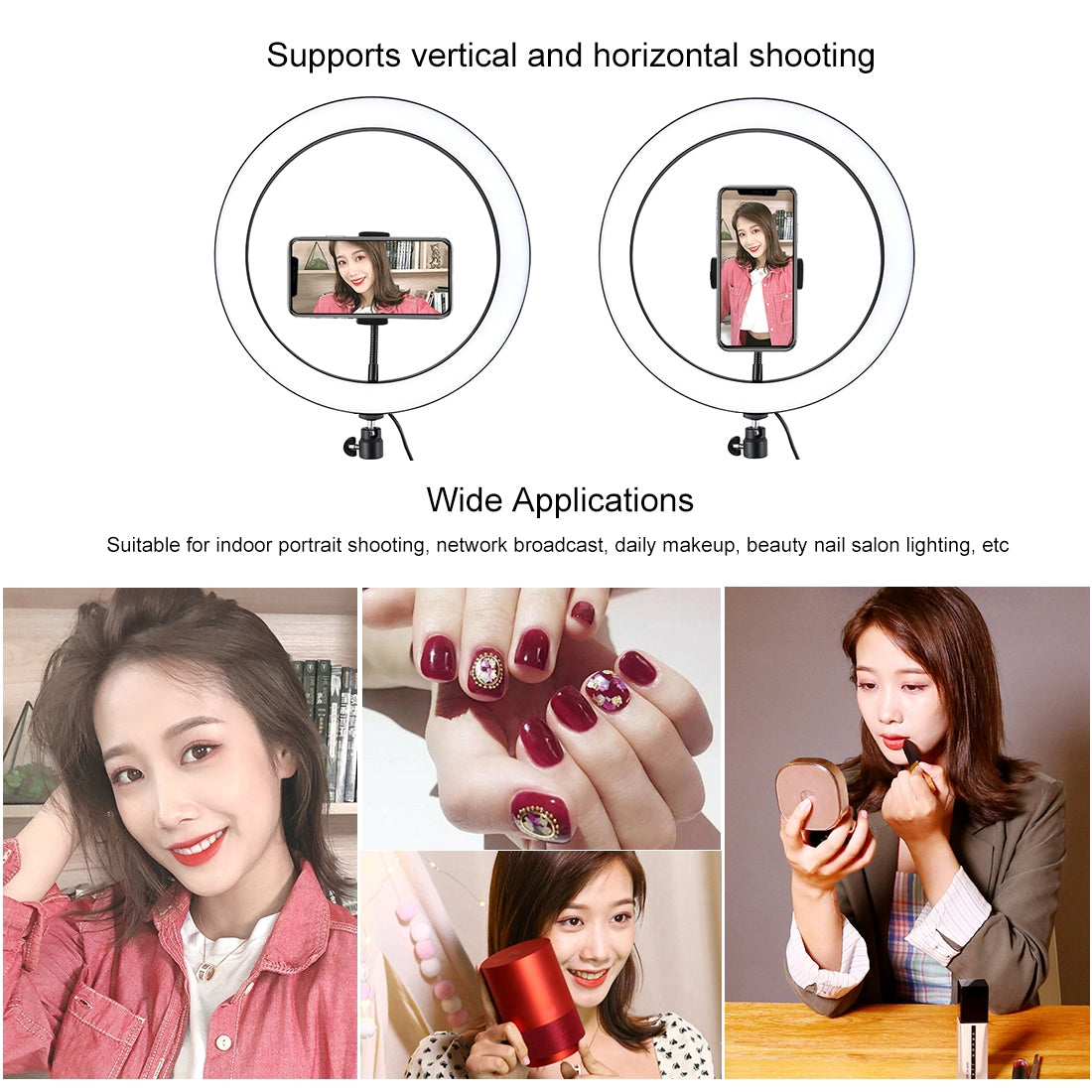 11.8 inch 30cm USB 3 Modes Dimmable LED Ring Vlogging Selfie Photography Video Lights with Cold Shoe Tripod Ball Head & Phone Cla