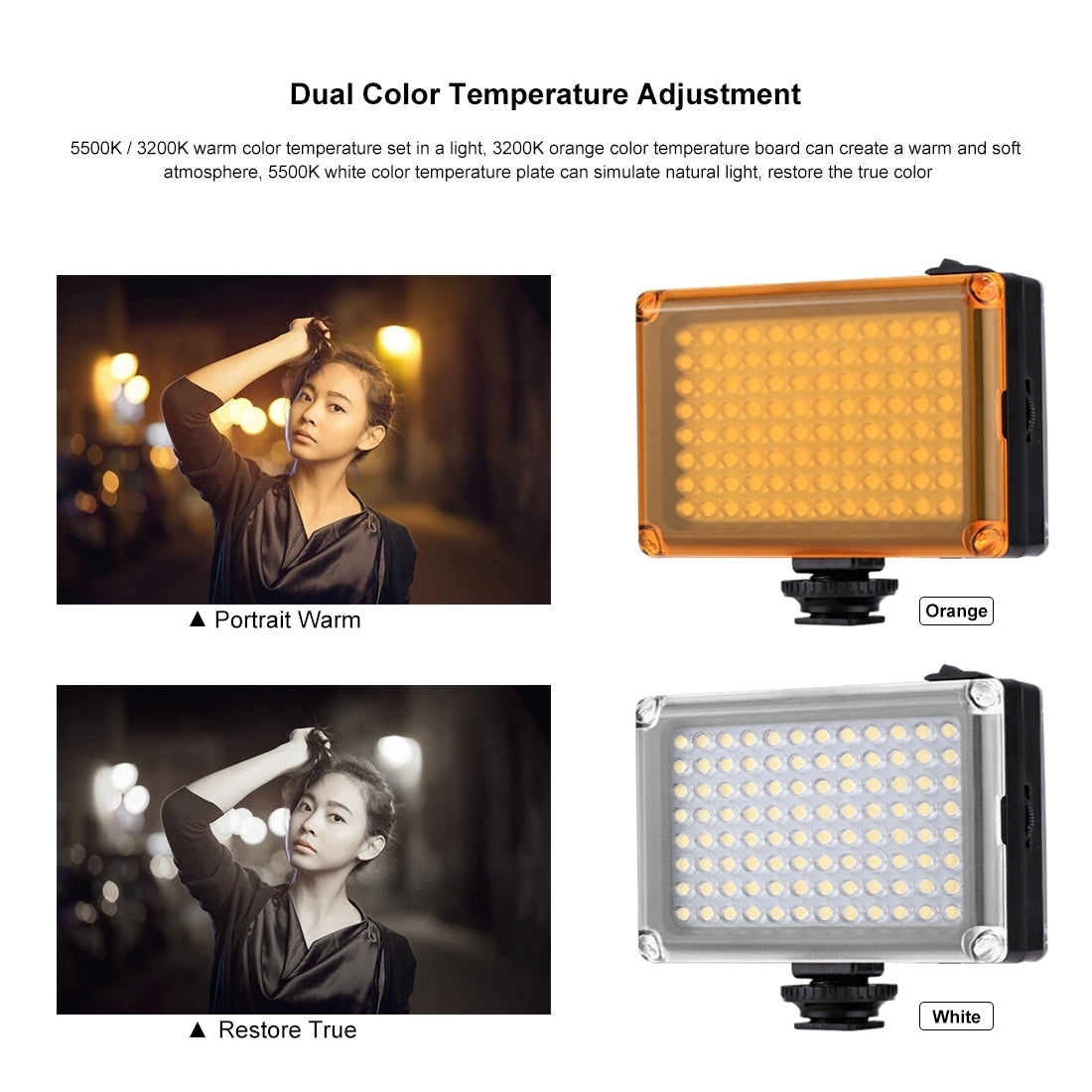 [UAE Stock]  Pocket 96 LEDs 860LM Professional Vlogging Photography Video & Photo Studio Light with White and Orange Magnet Filter