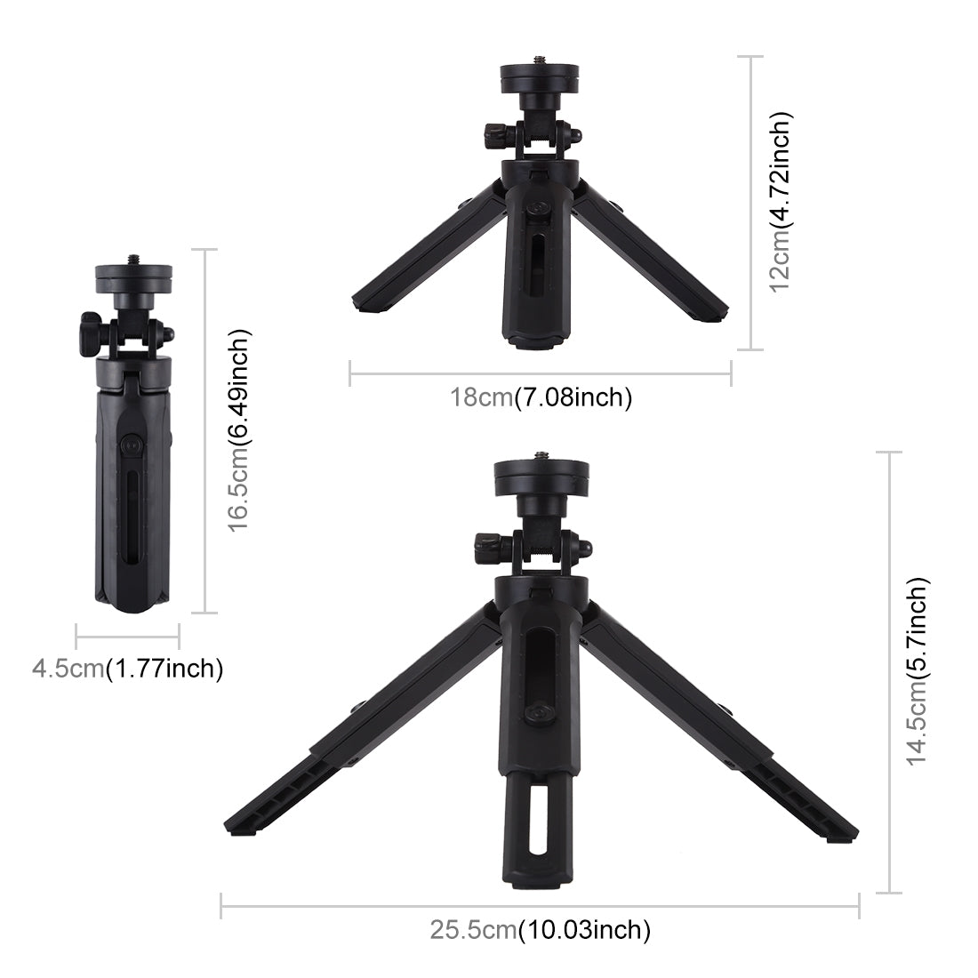 Pocket 5-mode Adjustable Desktop Tripod Mount with 1/4 inch Screw for DSLR & Digital Cameras, Adjustable Height: 16.5-21.5cm