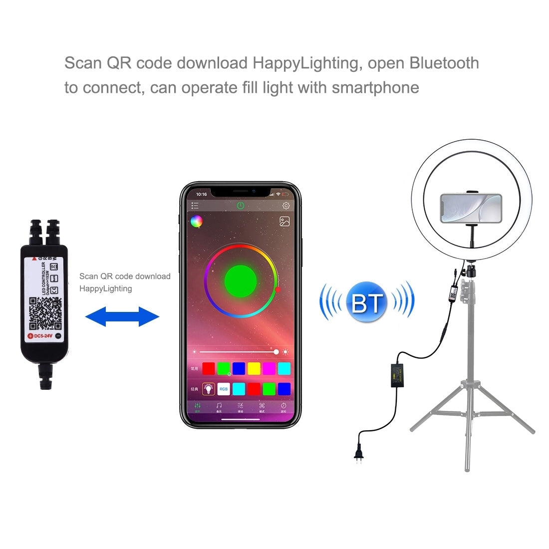 12 inch RGB Dimmable LED Ring Vlogging Selfie Photography Video Lights with Cold Shoe Tripod Ball Head & Phone Clamp(EU Plug)