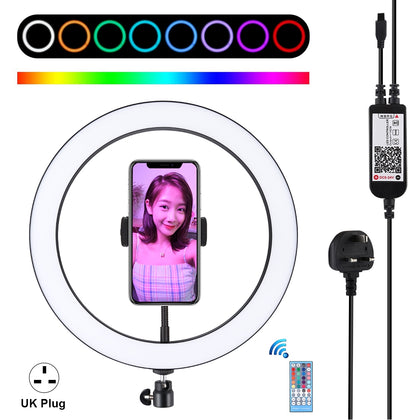 12 inch RGB Dimmable LED Ring Vlogging Selfie Photography Video Lights with Cold Shoe Tripod Ball Head & Phone Clamp(UK Plug)