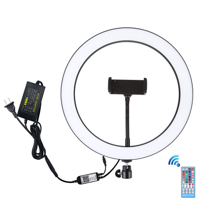 12 inch RGB Dimmable LED Ring Vlogging Selfie Photography Video Lights with Cold Shoe Tripod Ball Head & Phone Clamp(US Plug)