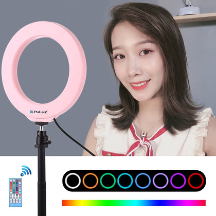 6.2 inch 16cm USB RGBW Dimmable LED Ring Vlogging Photography Video Lights  with Cold Shoe Tripod Ball Head & Remote Control(Pink