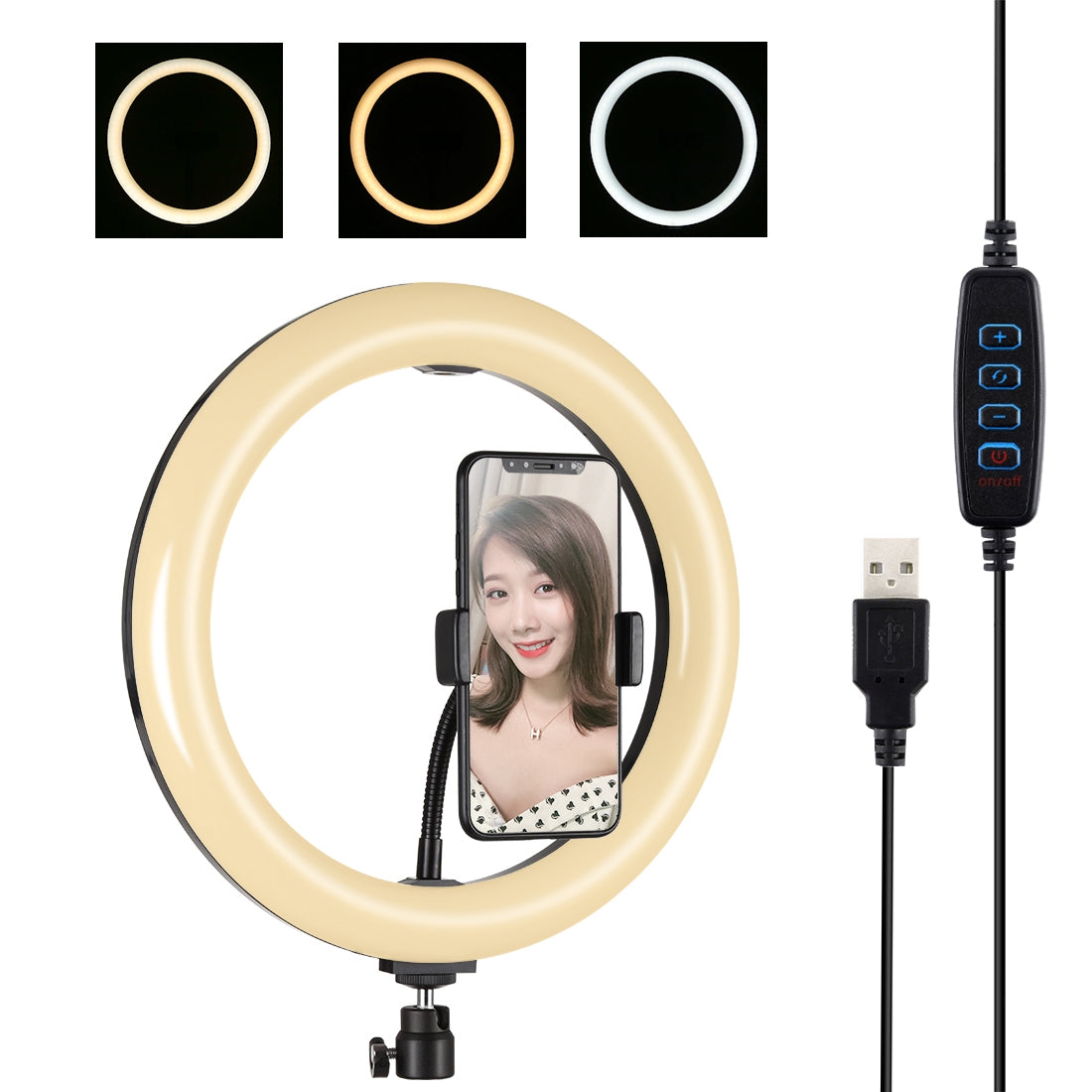 10.2 inch 26cm USB 3 Modes Dimmable Dual Color Temperature LED Curved Diffuse Light Ring Vlogging Selfie Photography Video Lights