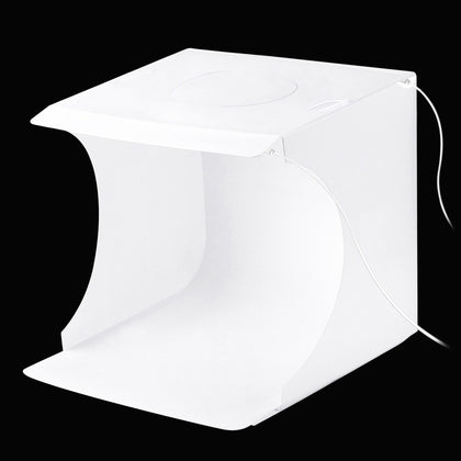 20cm Include 2 LED Panels Folding Portable 1100LM Light Photo Lighting Studio Shooting Tent Box Kit with 6 Colors Backdrops (Blac