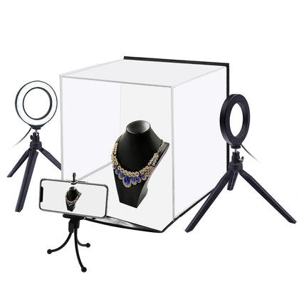 30cm Folding Portable Ring Light Photo Lighting Studio Shooting Tent Box Kit with 6 Colors Backdrops (Black, White, Orange, Red,