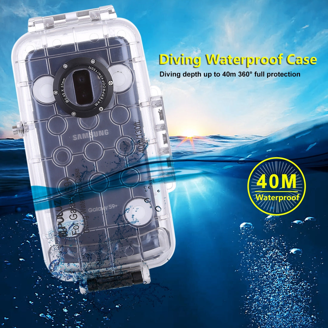 PULUZ 40m/130ft Waterproof Diving Housing Photo Video Taking Underwater Cover Case for Galaxy  S9+, Only Support Android 8.0.0 or below(Transparent)