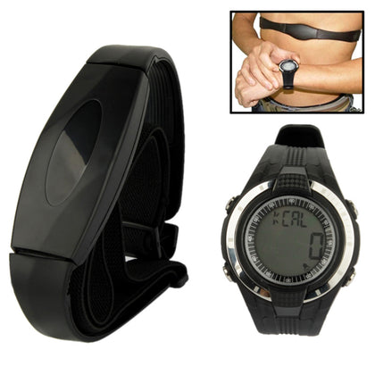 Heartbeat Rate Monitor Watch with Chest Transmitter Band / Time / Alarm / Timing(Black)