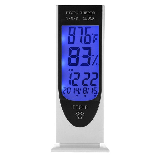 HTC-8 Luminous LCD Digital LED Night Light Thermometer Backlight Hygrometer Humidity Meter, with Alarm / Date / Clock / Calendar