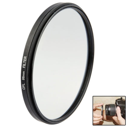 Aluminum Alloy 86mm Polarizing CPL Filter for DSLR Camera Lens(Black)