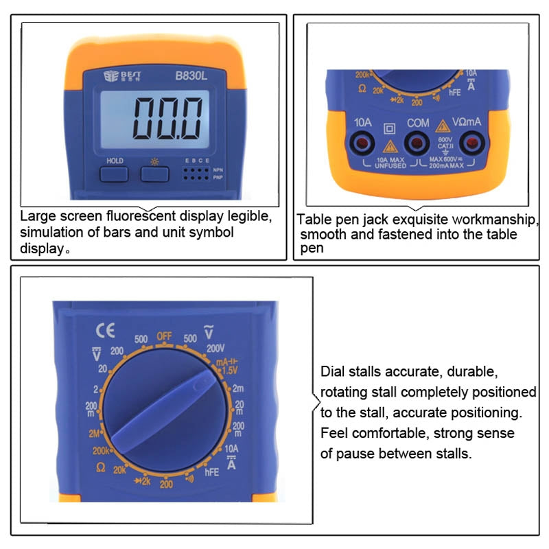 BEST BST- B830L 9V LCD Screen Display Digital Multimeter