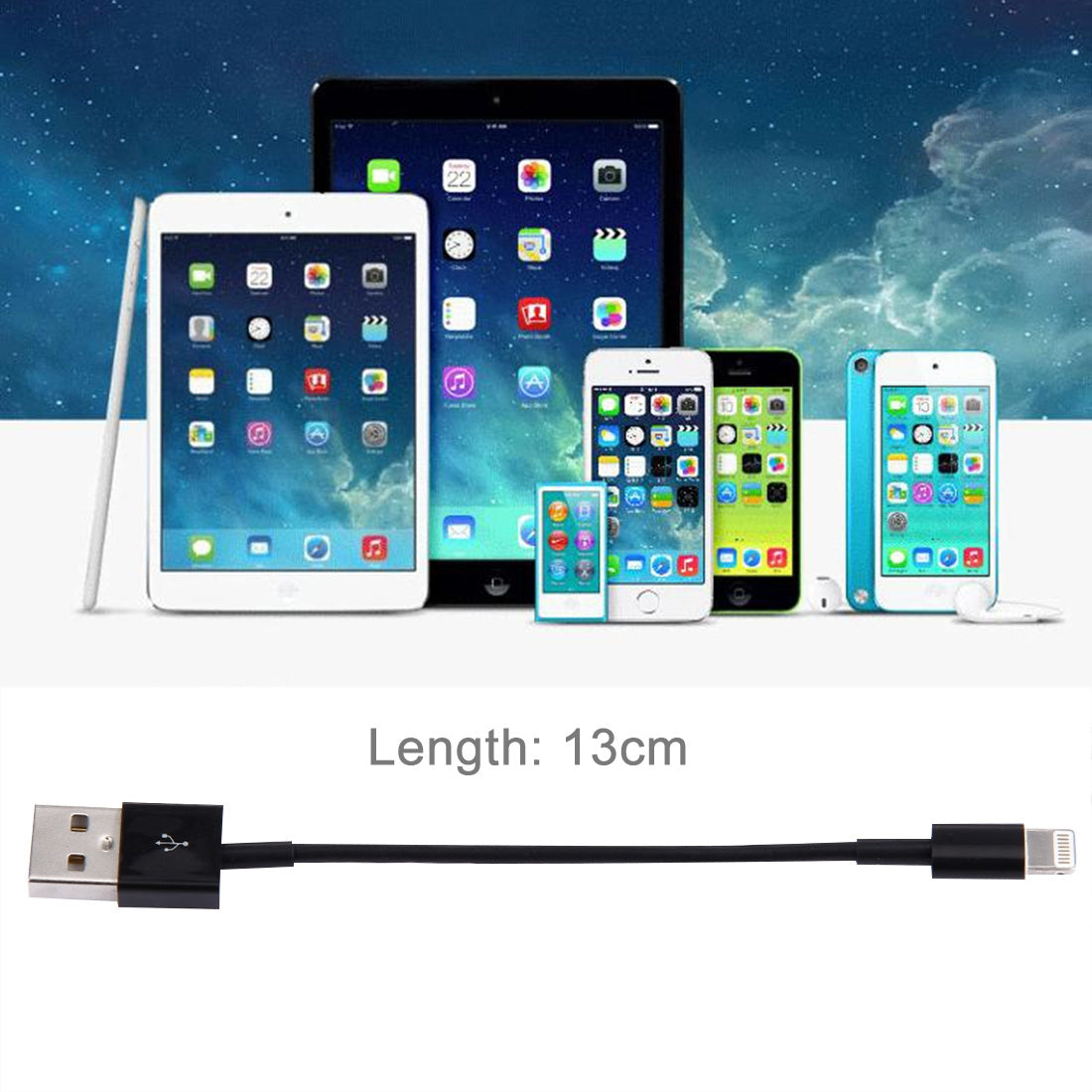 13cm 8 Pin to USB Sync Data / Charging Cable,  For iPhone XR / iPhone XS MAX / iPhone X & XS / iPhone 8 & 8 Plus / iPhone 7 & 7 Plus / iPhone 6 & 6s & 6 Plus & 6s Plus / iPad(Black)