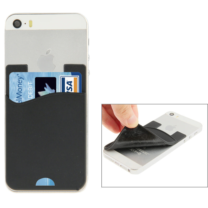 Smart Wallet Silicone Card Pocket, For iPhone, Galaxy, Huawei, Xiaomi, LG, HTC and Other Smart Phones(Black)
