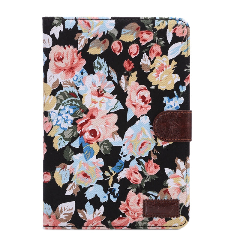 Peony Pattern Denim Texture Leather Case with Card Slots & Holder & Sleep Function for iPad mini 3 / mini 2 Retina(Black)
