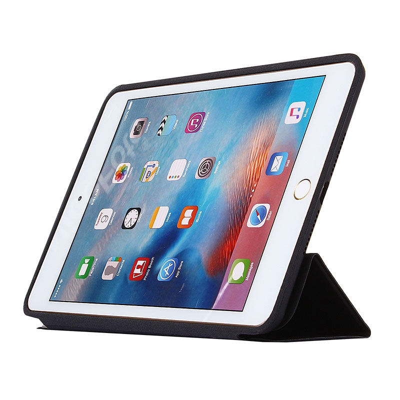Horizontal Flip Solid Color Leather Case with Holder & Sleep / Wake-up Function for iPad mini 4(Black)