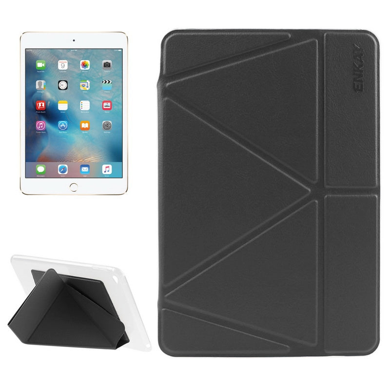 ENKAY Transformers Style Horizontal Flip Smart Leather Case with Holder and Sleep / Wake-up Function for iPad Mini 4(Black)