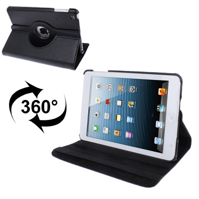 360 Degree Rotatable Litchi Texture Leather Case with Holder for iPad mini 1 / 2 / 3 (Black)
