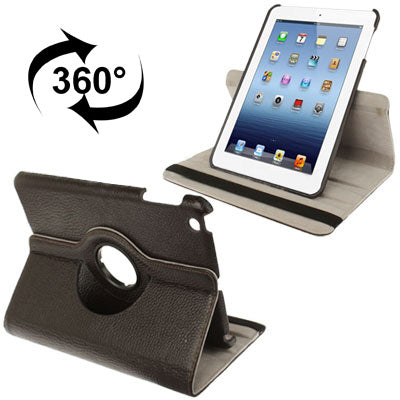 360 Degree Rotatable Litchi Texture Leather Case with Holder for iPad mini 1 / 2 / 3 (Coffee)