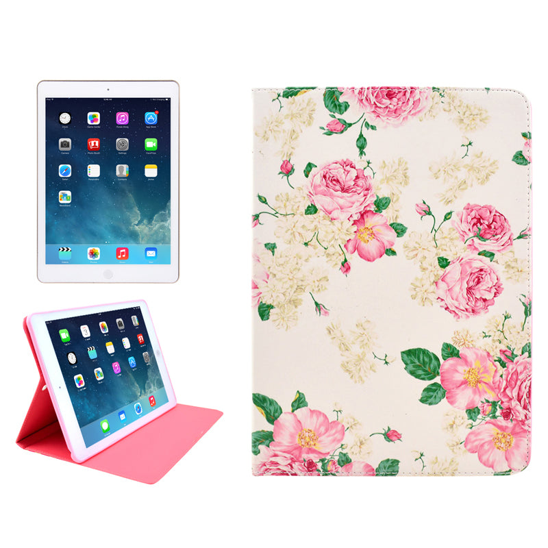Flowers Pattern Protective PU Leather Case with Sleep / Wake-up Function & Card Slot for iPad Mini / Retina