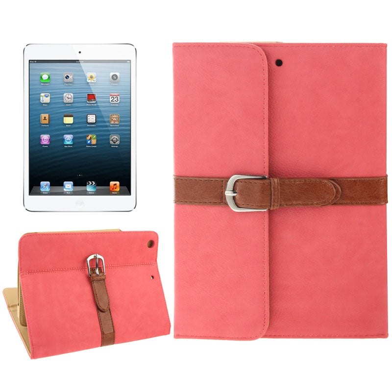 Genuine Leather Case Second Gear Holder with Buckle Function for iPad mini / mini 2 Retina(Pink)