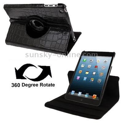 Crocodile Texture 360 Degree Rotatable Leather Case with Holder for iPad mini 1 / 2 / 3(Black)