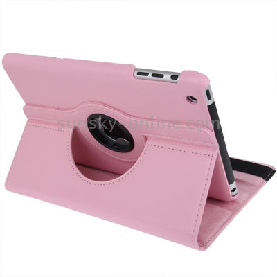 360 Degree Rotation Leather Case with Holder for iPad mini 1 / 2 / 3 (Pink)