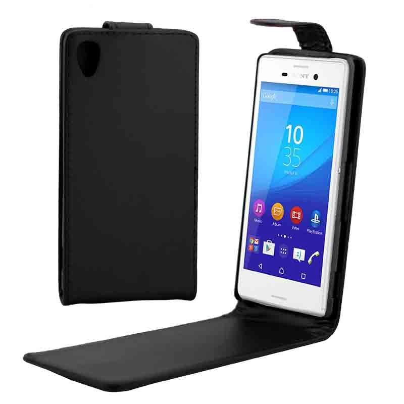 Vertical Flip Magnetic Button Leather Case for Sony Xperia M4 Aqua