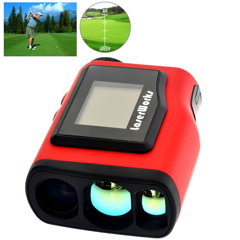 LaserWorks Waterproof Handheld Special Laser Rangefinder Telescope with 1.8 inch External Display for Golf(Red)