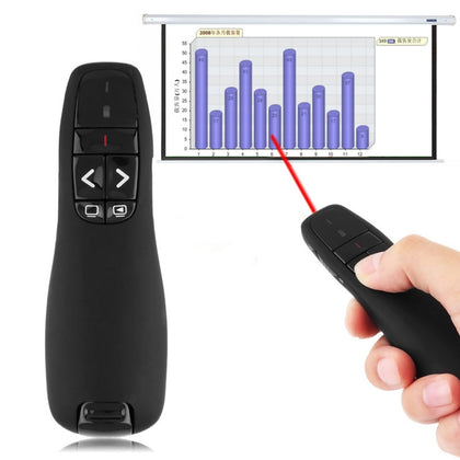 Multimedia Presenter with Laser Pointer & USB Receiver for Projector / PC / Laptop, Control Distance: 15m (R400)(Black)