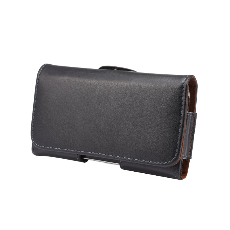 Universal Horizontal Style Genuine Leather Waist Bag with Back Splint, For iPhone X , Samsung S7 / S5 / S4, Grand DUOS / I9082(Black)
