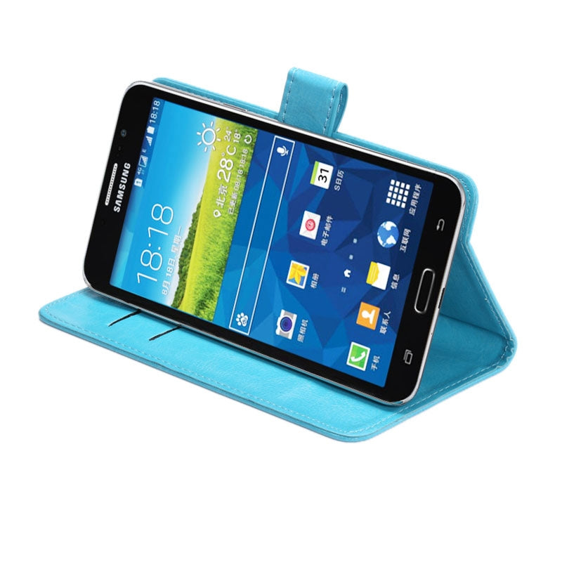 5.5-6.3 Inch Universal Crazy Horse Texture 360 Degree Rotating Carry Case with Holder & Card Slot for Galaxy Mega 6.3 / i9200(Baby Blue)