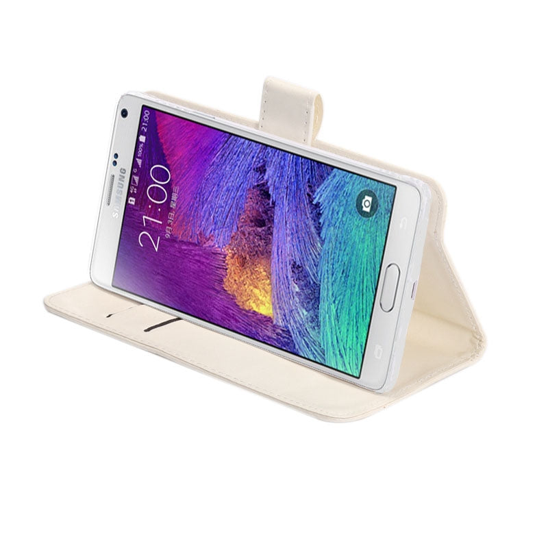 5.3-5.5 Inch Universal Crazy Horse Texture 360 Degree Rotating Carry Case with Holder & Card Slots for Galaxy Note I / II / III / IV(White)