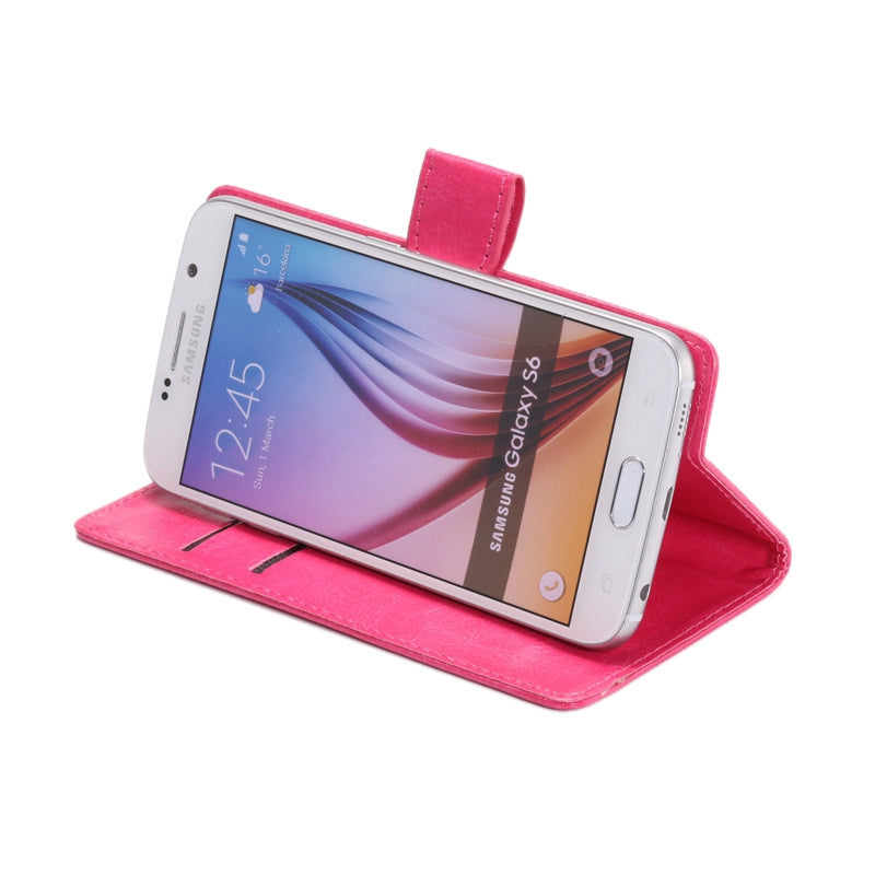 4.8-5.3 Inch Universal Crazy Horse Texture 360 Degree Rotating Carry Case with Holder & Card Slots for iPhone X , Galaxy S6 / S5 / Galaxy Grand Duos / G920 / G900 / i9082(Magenta)