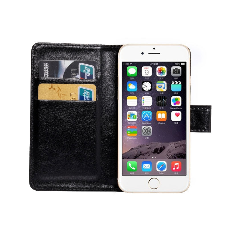 4.3-4.8 Inch Universal Crazy Horse Texture 360 Degree Rotating Carry Case with Holder & Card Slots for iPhone 6 & 6S / Galaxy S4 / S3 / i9500 / i9300(Black)