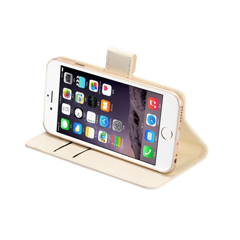 4.3-4.8 Inch Universal Crazy Horse Texture 360 Degree Rotating Carry Case with Holder & Card Slots for iPhone 6 & 6S / Galaxy S4 / S3 / i9500 / i9300(White)