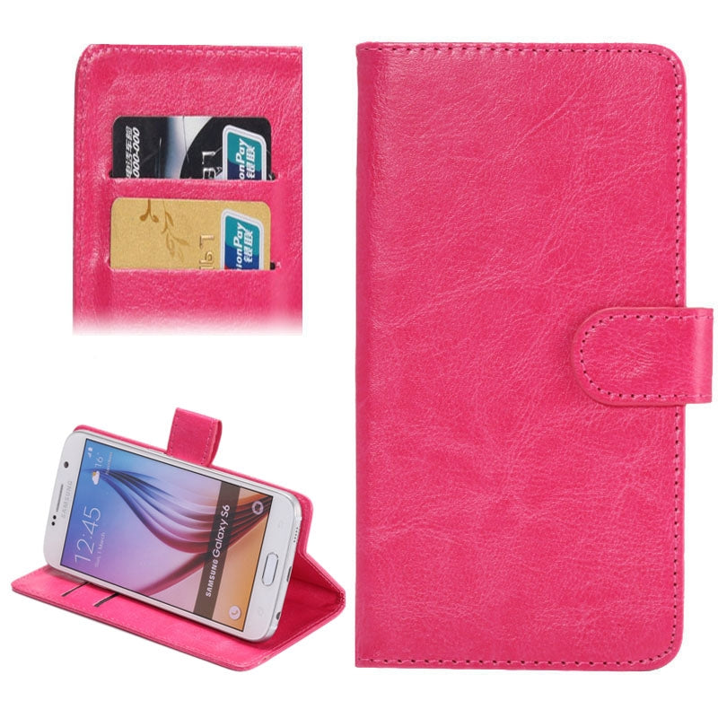 3.8-4.3 Inch Universal Crazy Horse Texture 360 Degree Rotating Carry Case with Holder & Card Slots for Galaxy SII / i9100 / iPhone 4 / 4s / 5 / 5c / 5s(Magenta)