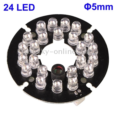 24 LED 5mm Infrared Lamp Board for CCD Camera, IR Distance: 30m