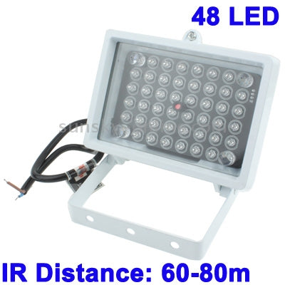 48 LED Auxiliary Light for CCD Camera, IR Distance: 60-80m (ZT50-4W), Size: 12.8x9x8cm(White)