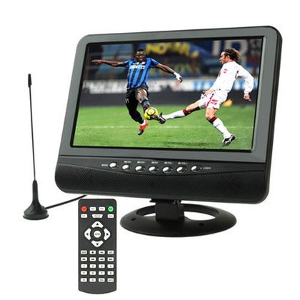 9.5 inch TFT LCD Color Portable Analog TV with Wide View Angle, Support SD/MMC Card, USB Flash disk, AV In, FM Radio function(Blac
