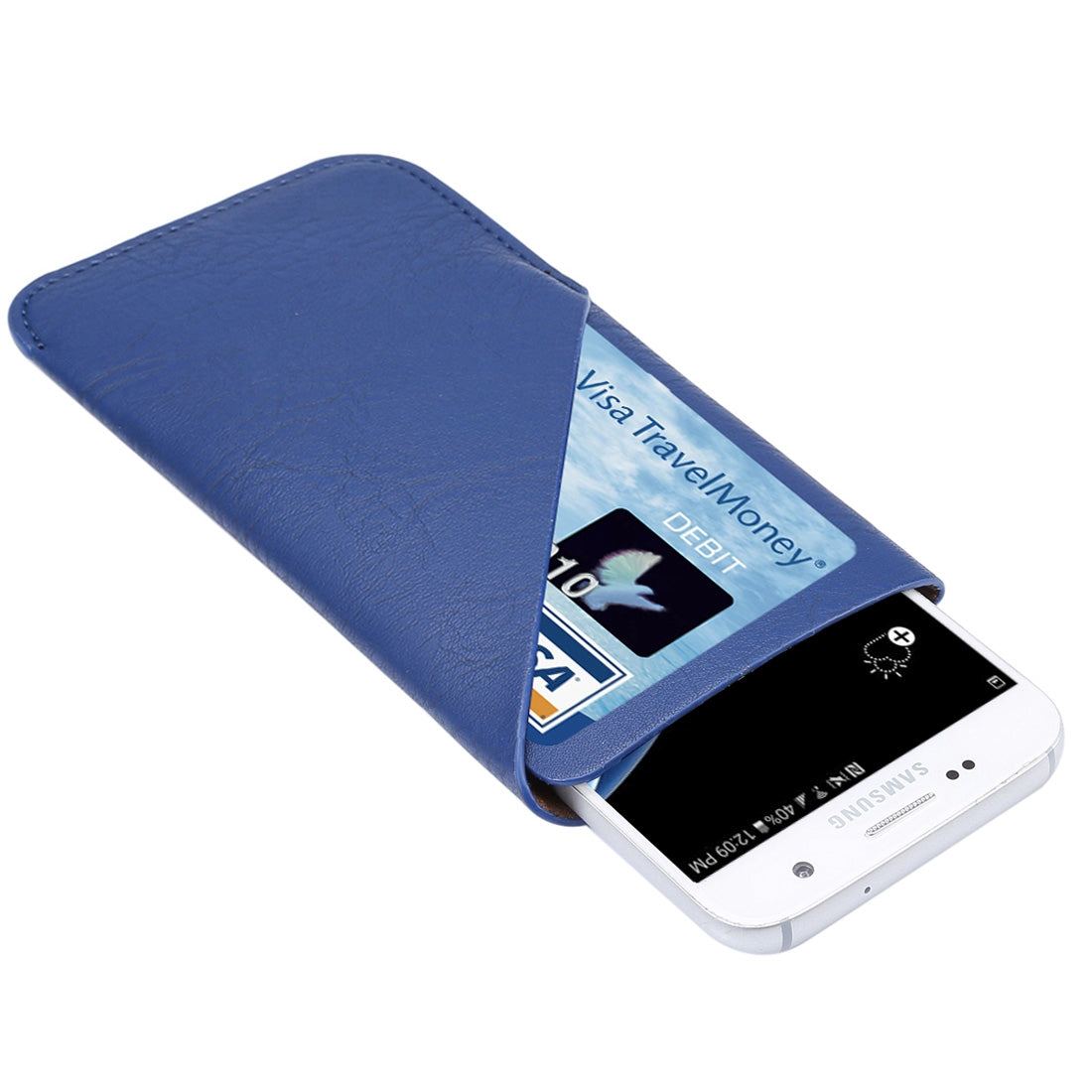 5.2 inch Universal Elephant Skin Texture Vertical Style Pouch Case Bag with Card Slot, For iPhone X , Galaxy S7 / S6, Huawei P9, etc.(Blue)