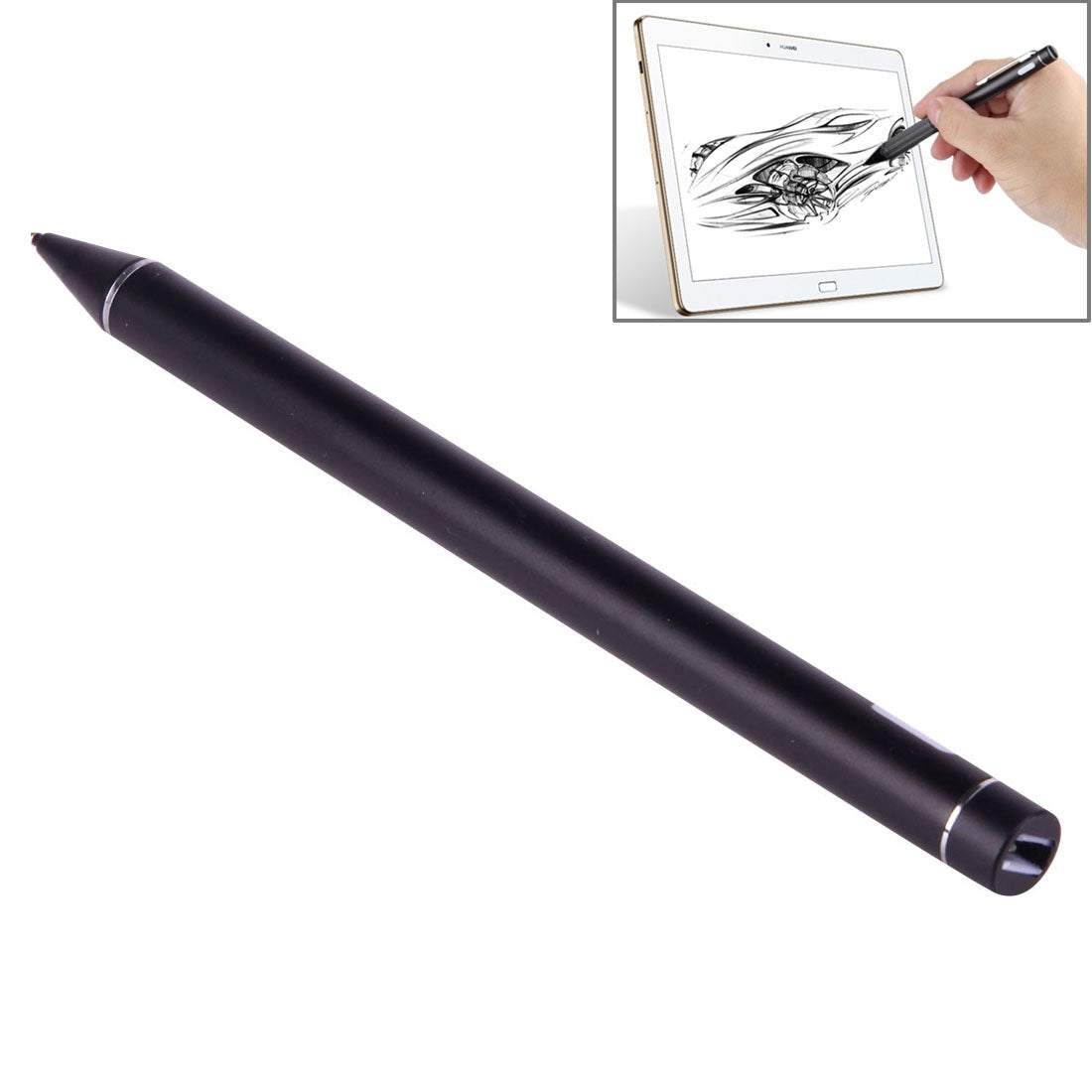 Universal Rechargeable Capacitive Touch Screen Stylus Pen with 2.3mm Superfine Metal Nib, For iPhone, iPad, Samsung, and Other Capacitive Touch Screen Smartphones or Tablet PC(Black)