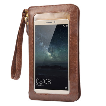 Universal Crazy Horse Texture Touch Screen Wallet Style PU Leather Shoulder Bag for Galaxy Note 8 & Mega 6.3, Huawei Mate 8 / Mate 7, etc. 6.3 inch Below(Coffee)