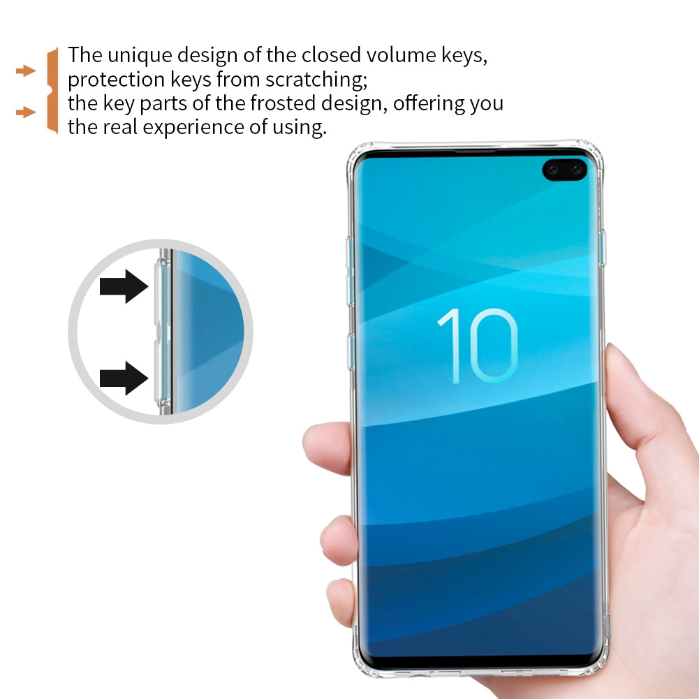 NILLKIN Nature TPU Transparent Soft Case for Galaxy S10+ (White)