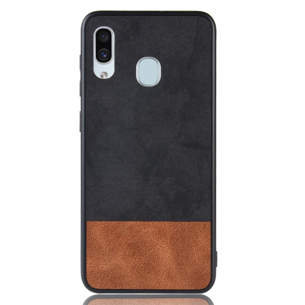 Shockproof Color Matching Denim PC + PU + TPU Case for Galaxy A40 (Black)