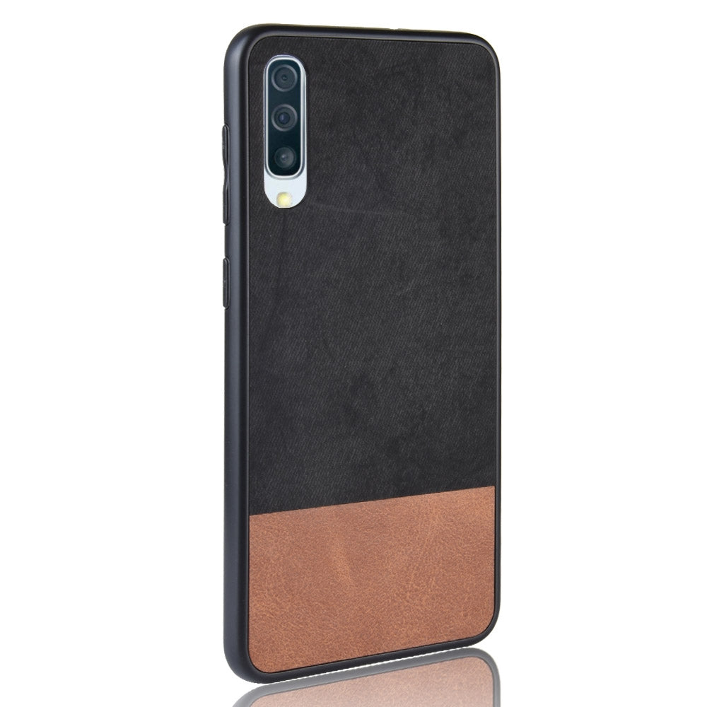 Shockproof Color Matching Denim PC + PU + TPU Case for Galaxy A70 (Black)